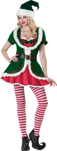 InCharacter Costumes, LLC Holiday Honey Velvet Dress, Green/Red, Medium