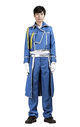 Mtxc Men's Fullmetal Alchemist Cosplay Roy Mustang Army Uniform Kid Size Large Blue