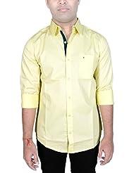 AA' Southbay Men's Banana Yellow Cotton Long Sleeve Casual Shirt