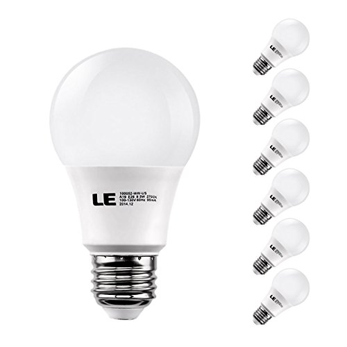 LE® 9.5W Dimmable A19 E26 LED Light Bulbs, Brightest 60W Incandescent Bulbs Equivalent, 800lm, Warm White, LED Bulbs, Pack of 6 Units