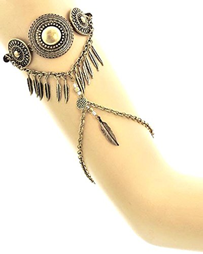 Metal and Feather Charm Brown Suede Cord Back Upper Arm Bracelet - Arm Cuff Jewelry for Women