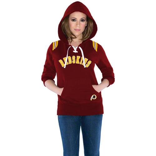 Touch by Alyssa Milano Washington Redskins Ladies Laced-Up Pullover Hoodie - Burgundy at Amazon.com