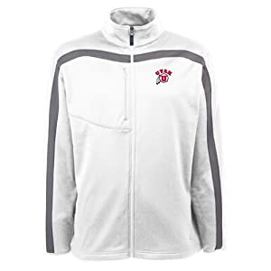 Utah Utes NCAA Viper Mens Full Zip Sports Jacket (White) by Antigua
