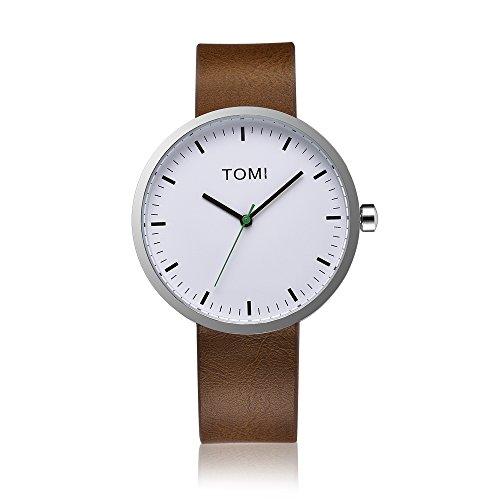Tomi Watch 005 Quarzo Analogico Acciaio Inossidabile Bianco Verde Pelle Marrone Unisex Orologio Design