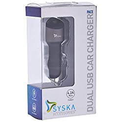Techno Clouds Syska Dual USB Fast Car Charger 4.2A (Grey)