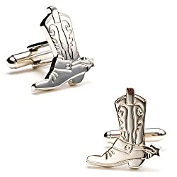 Silver Plated Boots and Spurs Cufflinks