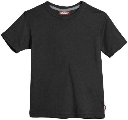 City Threads Big Boys' Jersey Basic Crew Tee (Toddler/Kid) - Charcoal - 14 front-1010502
