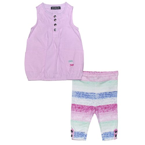 Calvin Klein Little Girls' Button Up Chambray Tunic Set With Ombre Leggings, Purple, 3T front-646736