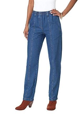Roamans Women's Plus Size Petite Kate Elastic Waist Jeans (Stonewash,20 Wp)