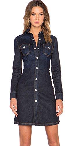 Sexy Tasche Sul Davanti Collare Denim Jean Shirt Camicia Chemisier A-Linie a Pieghe Svasato Mini Corti Corto Vestito Abito Blu Marino 2XL