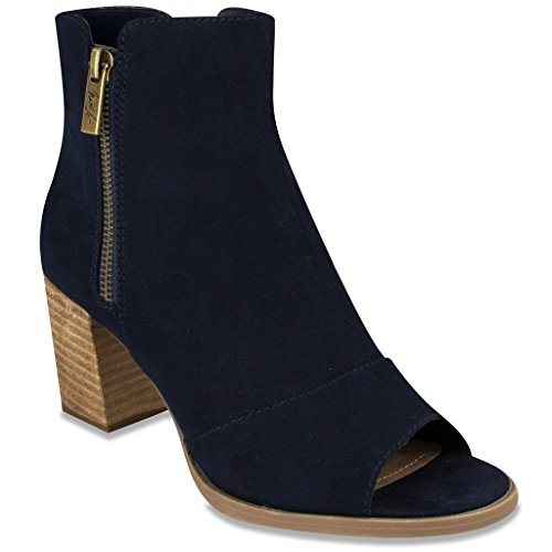 Mari A AXLE 2 Dress Ankle Boot Bootie Peep Toe 6.5 Navy Faux Suede (Cowboy Boot Repair Kit compare prices)