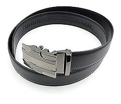 Moda Di Raza- Mens Gunmetal Embossed Slide Buckle Casual Formal Fashion Genuine Leather Belt/BLACK-845