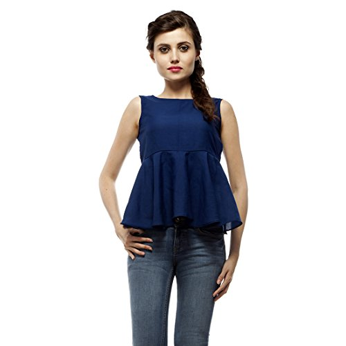 PrettyPataka Party Sleeveless Solid Women's Crop TopS