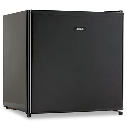 Sanyo Products - Sanyo - Compact Cube, 1.7 Cu. Ft. Office Refrigerator, Adjustable Thermostat Dial, Black - Sold As 1 Each - Compact 1.7 cubic foot size. - Reversible door. - Adjustable thermostat dial. - Two leveling legs. -