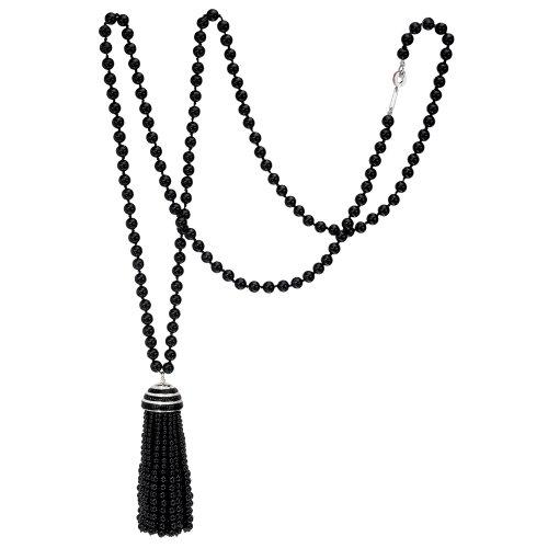 Amazon.com: Ivanka Trump Long Onyx Bead & Diamond Tassel Necklace
