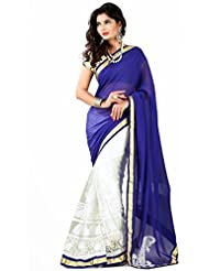 Half And Half Designer Party Wear Saree - B00V9ZIBLU