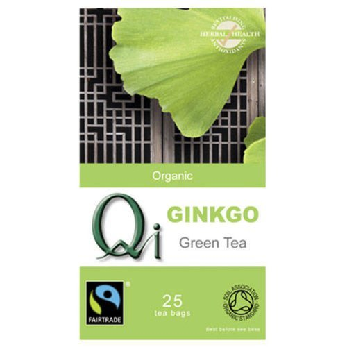 Qi Organic Ginkgo Green Tea 25 Teabags (Pack of 6, Total 150 Teabags)