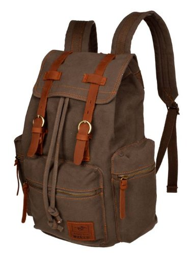 Men Women Vintage Army Green Canvas Backpack Rucksack School Satchel Hiking Bag front-1012862