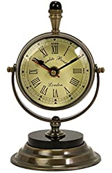 Voyager Soren Brass Table Clock and Compass
