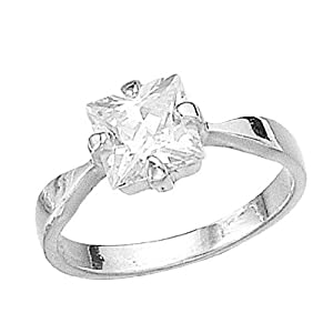 Elements Sterling Silver R925C 54 Ladies' Square Cubic Zirconia Clear Ring - Size Medium