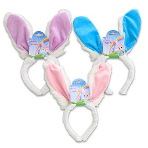 Set of 3 Plush Bunny Headbands fluffy WHITE Rabbit ears Costume Accessory
