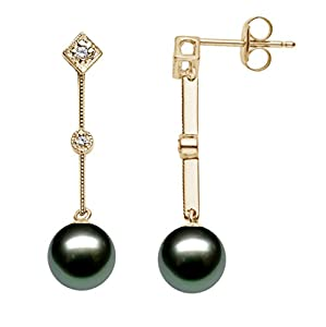 14k Yellow Gold AAA Quality Black Tahitian Cultured Pearl Diamond Dangle Earrings (8-9mm)