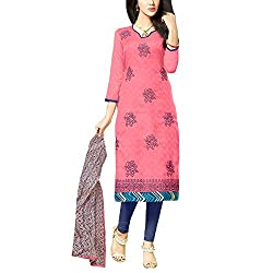 Applecreation Carrot Red Embroidered Dress Material With Matching Dupatta for Women's