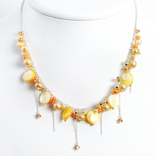 Sterling Silver Mother of Pearl/Champagne/Orange/Peach Pearl Necklace - 16 Inch