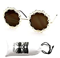 V174-vp Flower Lace Round Circle Metal Vintage Retro Womens Sunglasses (Gold-brown+ Pouch)