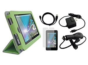 iShoppingdeals - for HP Slate 7 INCH Tablet 2800: Green PU Leather Folio Cover Case, Car Home/Wall AC Charger, USB Data Sync Cable, and Screen Protector at Electronic-Readers.com