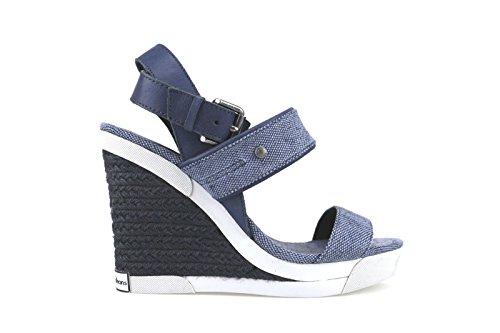 scarpe donna CALVIN KLEIN JEANS sandali zeppe blu tessuto pelle AH358 (39 EU)