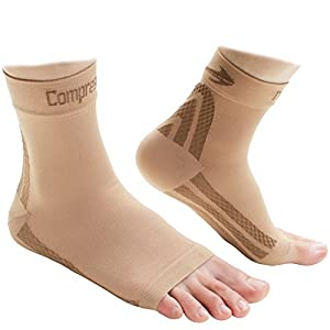 Foot Sleeves (1 Pair - Nude M) Best Plantar Fasciitis Compression for Men & Women - Heel Arch Support/ Ankle Sock