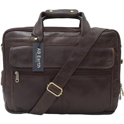 "1ST 16"" Vintage Leather Men's Coffee Briefcase Laptop Bag Messenger Handbag,M160"