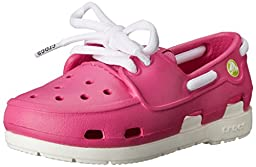 crocs Beach Line Lace PS Boat Shoe (Toddler/Little Kid),Fuchsia/White,10 M US Toddler