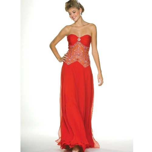 Strapless Evening Dress - Prom Dress, Party, Formal Gown by Sean Collection (70009) Red M