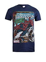 ZZ-Marvel Camiseta Manga Corta Spiderman Comic (Azul Marino)