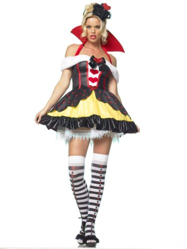 Queen of Hearts Mini Dress Costume Royalty Victorian Fairytale Theatre 3 Pc Set