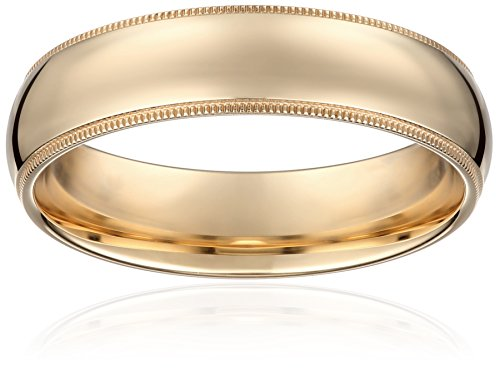 Men's 14k Yellow Gold 6mm Comfort Fit Milgrain Plain Wedding Band, Size 10.5