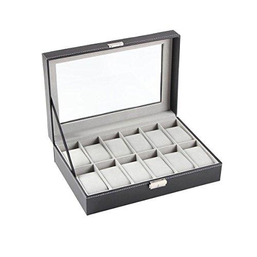 Ohuhu 12-Slot Leather Watch Box / Watch Case / Jewelry Box /Watch Jewelry Display Storage, Gray & Black