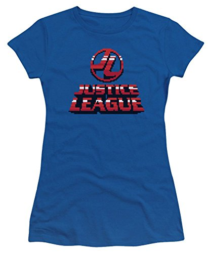 Justice League 8 Bit JL Ladies Junior Fit T-Shirt