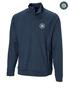 Seattle Mariners Mens DryTec Kingsgate Embossed Half Zip Navy Blue by Cutter & Buck