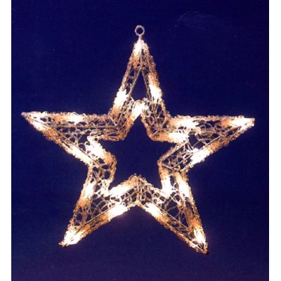 PW Outdoor 20 LED Lights Star Complete With Hanging Ring Christmas Decoration