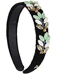 Hair Drama Fashion Black Leafy Crystals Hair Headband For Girls And Women