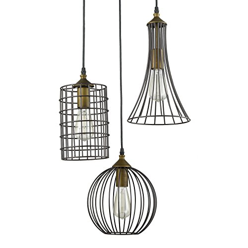 yobo lighting antique 3lights island oil rubbed bronze chandelier wire cage pendant light