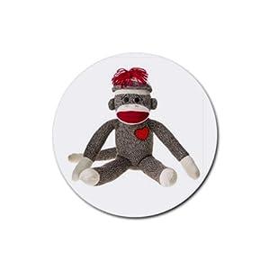 Sitting Sock Monkey Design Round Rubber Coasters Set of 4 at 'Sock Monkeys'
