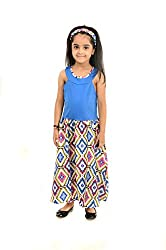 StyleMyKidz Girls' Dress (GMX101_7 Years, Blue & 7 Years)