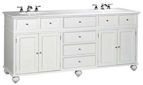 "Hampton Bay Double Sink Cabinet Vanity with Granite Top White 35""H x 72""W x 22""D, WHITE GRANITE, WHITE"