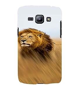 PrintVisa Animal Lion Design 3D Hard Polycarbonate Designer Back Case Cover for Samsung Galaxy J1 (2016 Edition)