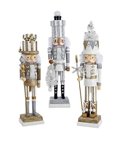 Kurt Adler Set of 3 Hollywood 18 Nutcrackers with Hats, Metallic