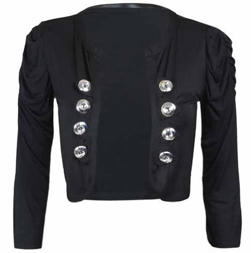New Ladies Military Style Button Shrug Cardigan Womens Ruched Three Quarter Sleeve Bolero Top
